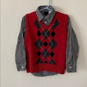 Boys Van Heusen Button Down and Sweater Vest